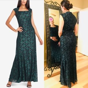 Tahari Long sequined evening gown